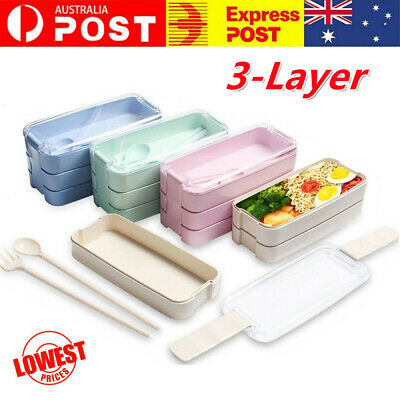 AU11.99 • Buy 900ml 3-Layer Bento Box Students Lunch Box Eco-Friendly Leakproof Food Container