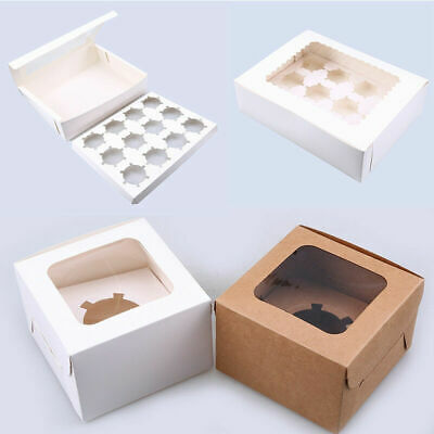 AU12.71 • Buy 1/4/8/10pcs Muffin Cupcake Box Cup Cake Packing Wedding Baking Boxes 1/12 Holes