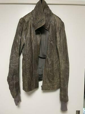 Rick Owens Leather Jacket Blouson Intarsia Dust High Neck Men's US XS From Japan • 377.56£