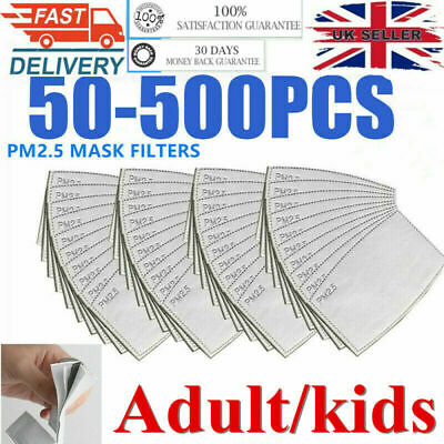 100 X Face Mask PM2.5 Filter Activated Carbon Replace Breath Insert Mask Filters • 5.98£