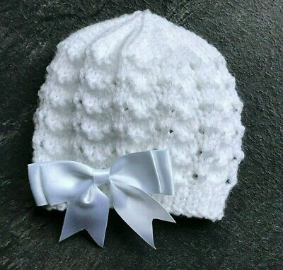 New Hand Knitted White Baby Girl's Beanie Hat With Satin Bow Various Sizes • 3.90£