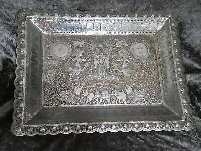 £699 • Buy Antique Indian Silver Reticulated Rectangular Tray 639g C1860