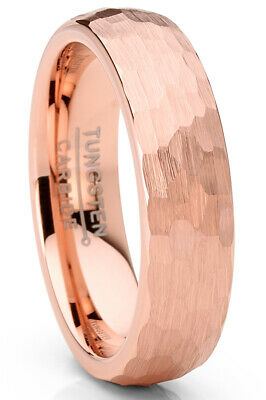 $24.99 • Buy Men's Tungsten Carbide Wedding Band Ring Hammered Rosegold-Tone Comfort-Fit 6MM
