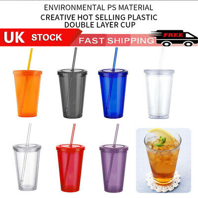 £7.21 • Buy 500ml Double Walled Cup Plastic Clear With Lid And Straw Drinks Insulated Winter