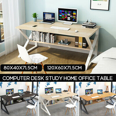 AU107.99 • Buy Computer Desk Study Home Office Table Student White Metal Workstation Storage A+