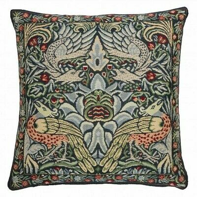 Tapestry Cushion Cover - Peacock & Dragon [blue]- 42cm [16.5 ] Approx • 23£
