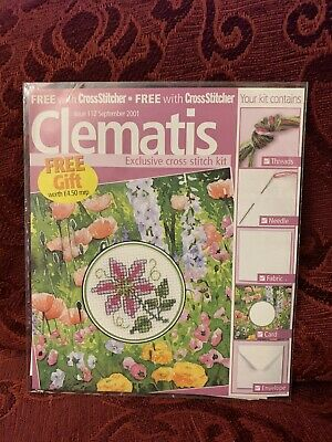 £2.99 • Buy Clematis Flower Cross Stitch Card Kit With Chart Valentine's Birthday
