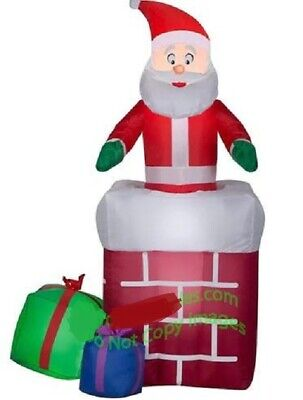 £81.63 • Buy Christmas Santa Animated Chimney Present Gift Inflatable Airblown 5 Ft Gemmy