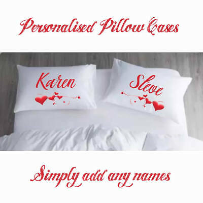 Personalised Pillow Cases | Two Items | Wedding Valentines Day Gifts • 14.99£