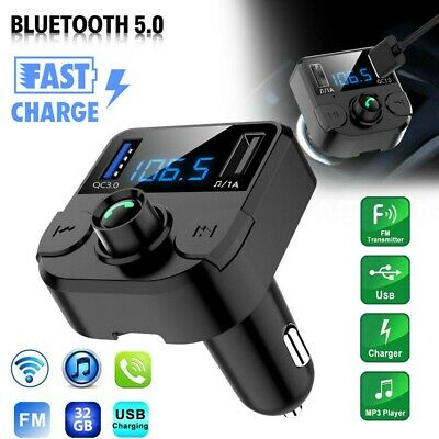 AU12.99 • Buy Bluetooth Car FM Transmitter MP3 Player Radio Wireless Adapter Kit 2 USB Charger