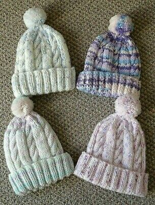 New Hand Knitted Baby Boy & Girl Bobble Hats - Up To 6 Months • 3.50£