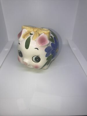 Vintage Piggy Bank Moneybox Pig Pottery Hand Painted  Big Eyes 1950's 1960's • 16.95£
