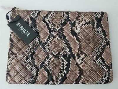 AU96.86 • Buy Nwt Mz Wallace Large Quilted Metro Pouch Brown Snake Silver Hardware W/dustbag