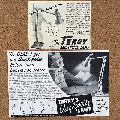 Ephemera Two Original 1940's WW2 Adverts For Terry's Anglepoise Lamps Redditch • 0.95£