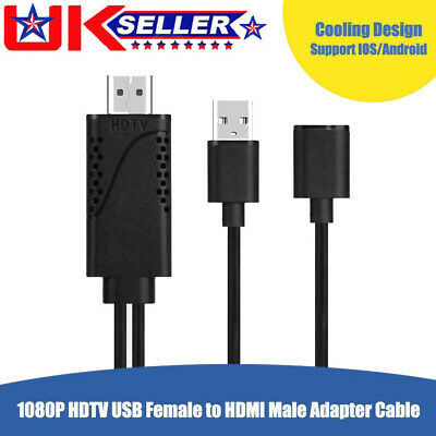 USB Female To HDMI Male 1080P HDTV TV Digital AV Adapter Cable Wire Cord • 10.86£