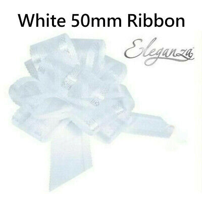 50mm Pull Bow Ribbon Flower Wedding Gift Wrap And Birthday White Decorations  • 1.99£