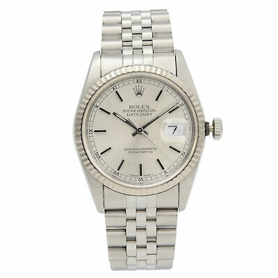 $ CDN6401.03 • Buy Rolex Datejust Steel 18K White Gold Silver Dial Automatic Mens Watch 16234