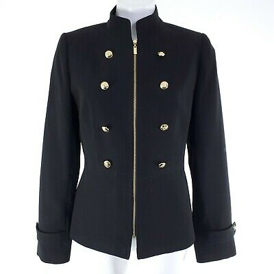 $29.99 • Buy Tahari Military Stylr Zip Up Blazer Black With Gold Buttons Stand Collar Sz 6