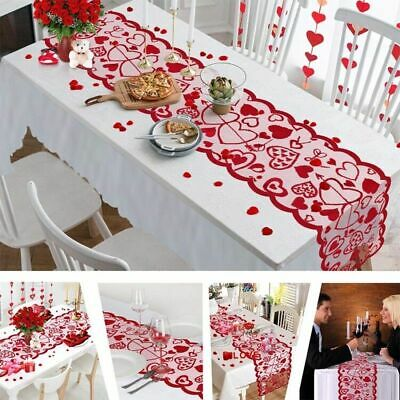 Red Love Heart Lace Table Runner Valentine's Day Table Decor Indoor Table Mat • 4.85£