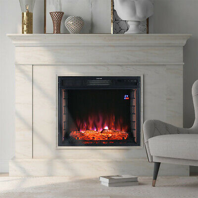 Electric Fireplace LED Burn Fire Log Brick Effect Inset Wall Mount Heater Remote • 166.74£