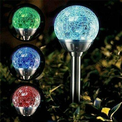 4 X Garden Solar Crack Ball Lights - Colour Changing Stainless Steel Water Proof • 10.99£