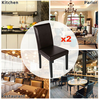 AU85 • Buy 2x PVC Leather Upholstered Dining Chair High Back Padded Home Restaurant Chairs