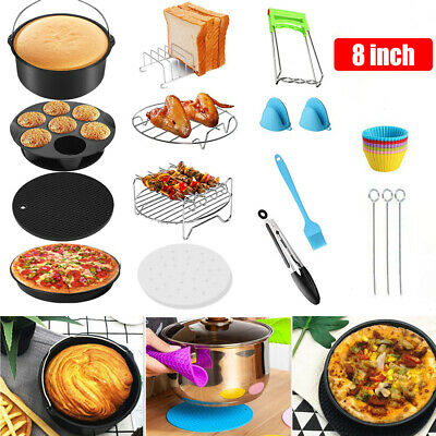 AU26.90 • Buy Set Air Fryer Accessories 8  Rack Cake Pizza Oven Barbecue Frying Pan Tray AU