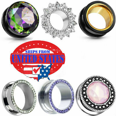 $9.99 • Buy Ear Gauges Stretched Ear Plugs Stainless Steel 316l Flesh Tunnels USA Pairs