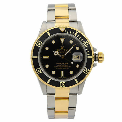 $ CDN12715.73 • Buy Rolex Submariner Steel 18K Yellow Gold Black Dial Automatic Mens Watch 16803