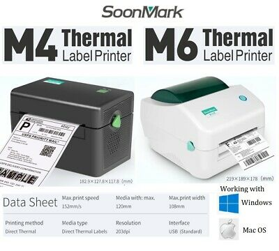 AU145.95 • Buy Soonmark M4 M6 Direct Label Printer Thermal Shipping Address Barcode 4x6