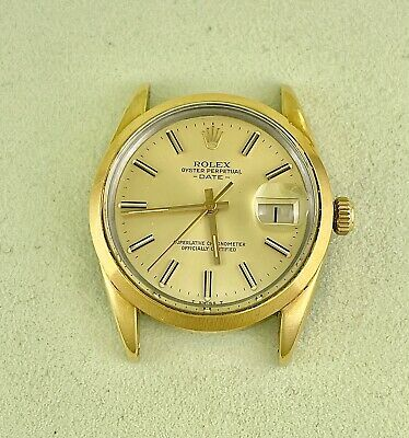$ CDN4152.95 • Buy Rolex Oyster Perpetual Date Gold Dial 34mm Vintage Gold Shell Men's Watch 15505