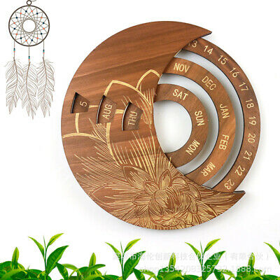 Wooden Calendar Everlasting Perpetual Wall Hanging Home Ornament Gifts • 13.29£