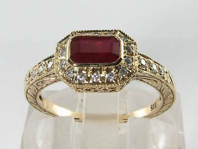 £399 • Buy Divine 9k 9ct Gold Indian Ruby Diamond Art Deco Ins Ring Free Resize