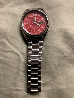 $ CDN114.35 • Buy Seiko 5 Automatic Red/pink Face Thai Numbers Vintage Watch