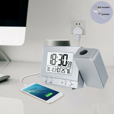 AU23.44 • Buy Digital Alarm Clock LCD Display Projection Time Temperature Projector Rotatable