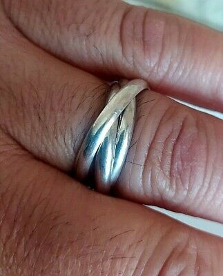 Men's Women's 925 Sterling Silver Spinner Ring Spinning Hand Made Jewelry Ring. • 34.34£