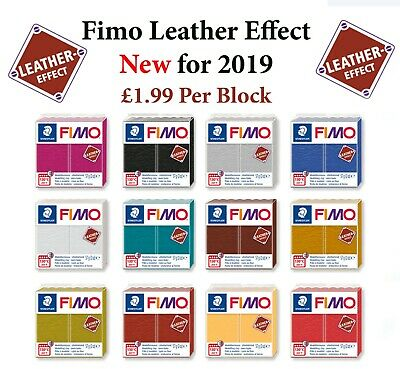 FIMO Leather Effect 57g Block Polymer Clay 12 Colours Modelling Jewellery Craft  • 1.99£