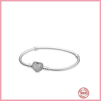 AU31.30 • Buy Sterling Silver Pandora Moments Sparkling Heart Clasp Snake Chain Bracelet