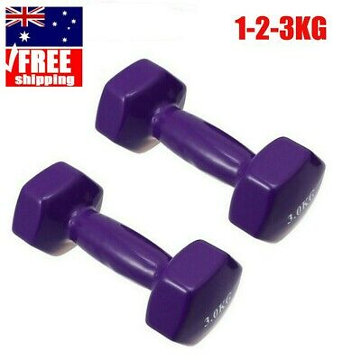 AU39.49 • Buy Pair Plastic Cover 1kg - 3kg Women Dumbbells Weights Gym Fitness Exercise