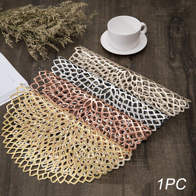 AU12.89 • Buy Dining Table Placemats PVC Round Hollow Washable Coaster Pad Mat Non-Slip