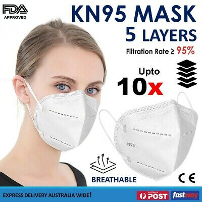 AU12.40 • Buy KN95 Face Mask Black Particulate Filter P2 N95 Protective Unisex Respirator 10x