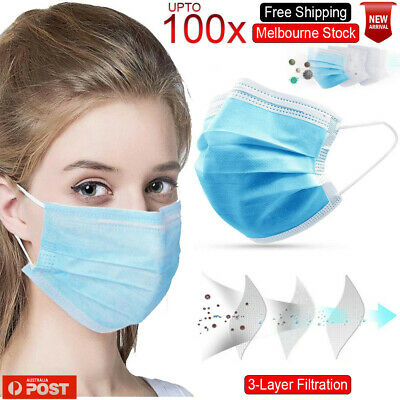 AU16.89 • Buy Face Mask 3 Layer Protective Mouth Masks Filter Respirator Daily AU 50 - 100 Pcs