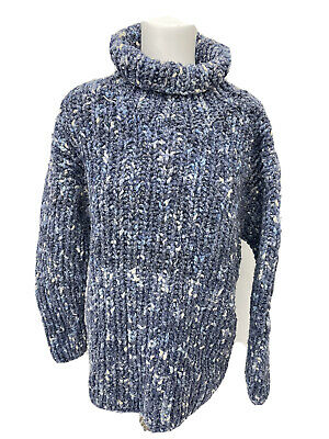 £49.99 • Buy PACHAMAMA Stunning Blue Super Chunky Wool/cotton Roll Neck Jumper - 10 12 - A21