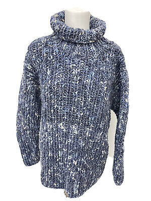 PACHAMAMA Stunning Blue Super Chunky Wool/cotton Roll Neck Jumper - 10 12 - A21 • 49.99£