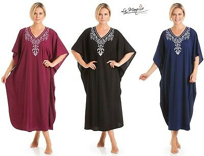 Ladies Long Kaftan Embroidered Floral Jersey Nightwear One Size • 16.99£