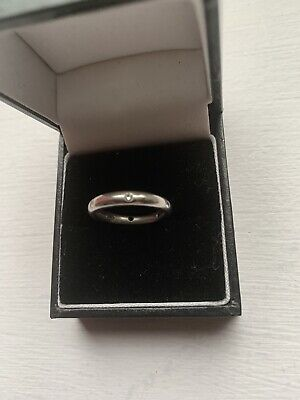 Platinum, Ring Set With Small Diamonds Fully Hallmarked Size Just Over (H) • 225£