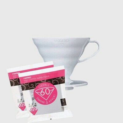 AU43 • Buy Hario V60 Coffee Dripper 02 Size White Plastic Plus Pour Over Scoop +200 Filters