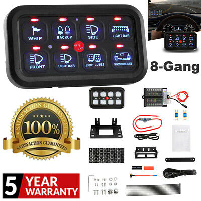 AU154.89 • Buy AUXBEAM 8 Gang On-Off LED Touch Control Switch Panel Blue Backlight Boat Marine