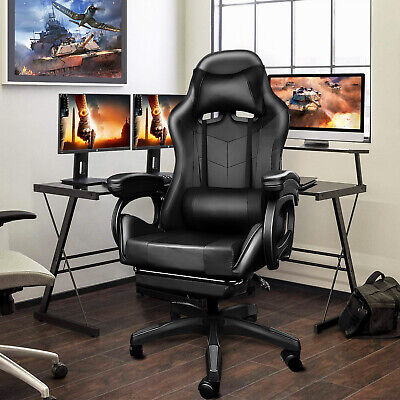 AU135 • Buy Computer Gaming Chair Racer Recliner Chairs PU Leather Seat With Lumbar Massage