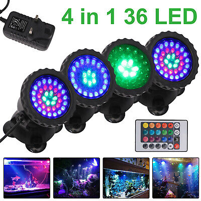 1 Set 4 Lights RGB LED Underwater Spot Light Aquarium Garden Fountain Pond Lamp • 15.39£